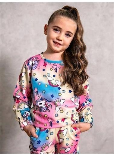 Riccotarz Kız Çocuk Unicorn Yıldızlı Renkli Eşofman Takım Pembe